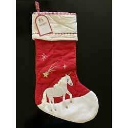 NWT Pottery Barn Kids UNICORN Christmas Quilted Stocking RED NO NAME NO MONOGRAM