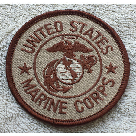 img-US MARINE CORPS PATCH Badge Desert Tan Emblem United States of America USA USMC