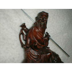 Kyпить Carved Wood Chinese Man & Horse 10