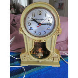 Kyпить 1939 Master Crafters Green Bakelite Electric Clock Swinging Girl Working на еВаy.соm