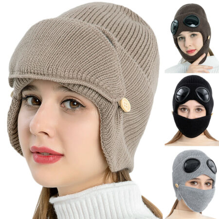 img-Unisex Fleece Winter Knit Trapper Aviator Hat Beanie Cap + Face Mask + Goggles