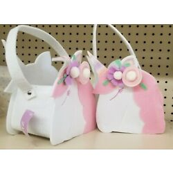 2 pair Spritz Unicorn Basket, White and Pink Felt, Ages 3+, NEW With TAGS