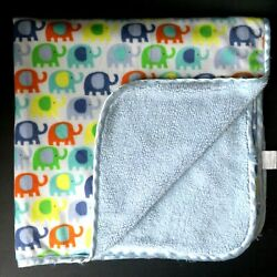 Kyпить Little Beginnings Colorful Elephant Blue Baby Blanket Sherpa Security Lovey  на еВаy.соm