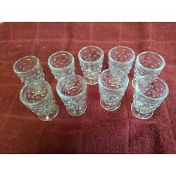 Kyпить Vintage Set of 8 Clear Hobnail Footed Shot Glasses / Whiskeys / Sherry на еВаy.соm