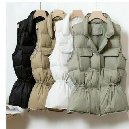img-Women Duck Down Jacket Waistcoat Puffer Vest Padded Quilted Coat Sleeveless