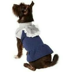 M 11  ~ Dobaz ~ Quilted Winter Dog Turtleneck Dress ~  Navy Blue/Gray ~ NWT