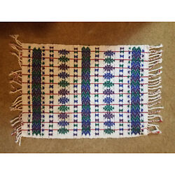 2 fringed Handwoven PERUVIAN PLACE MATS in white blue green and purple designs
