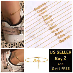 Women Gold Anklets Simple Letters Twelve Constellations Ankle Bracelet Jewelry