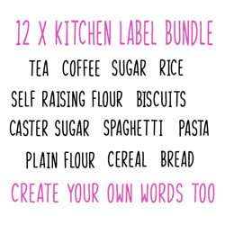 12 x Kitchen Pantry Labels  Vinyl Decal Stickers Jars Spices Containers