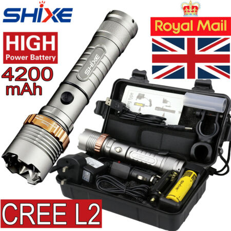 img-20000lm SHIXE L2 LED Tactical Flashlight UK Military Grade Torch Zoomable