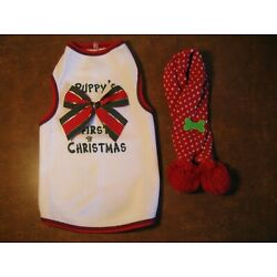 Lot of 2 Puppy's First Christmas Dog Shirt Size M & Scarf