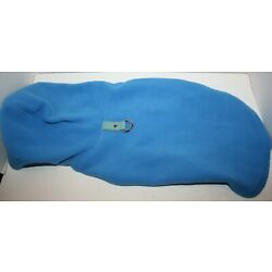 Gooby Fleece Vest Hoodie SMALL BREED Pull Over Sweater w/Leash Ring - Blue