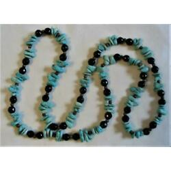 Kyпить VINTAGE SOUTHWESTERN NATURAL TURQUOISE NUGGET & FACETED BLACK BEAD NECKLACE 30