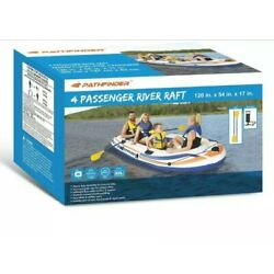 Kyпить Pathfinder 4 Person Inflatable Boat River Raft + 2 Oars Kayak Rafting Brand NEW  на еВаy.соm