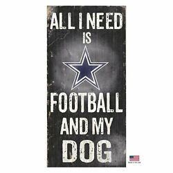 Dallas Cowboys Distressed Football And My Dog Sign from StayGoldenDoodle.com