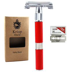 GERMAN MADE DOUBLE EDGE BUTTERFLY OPEN SAFETY RAZOR FOR MEN WOMEN + 5 BLADES RED