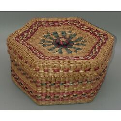 Vintage Tightly Woven Lidded Hexagonal Small Storage Basket with Colored Accents