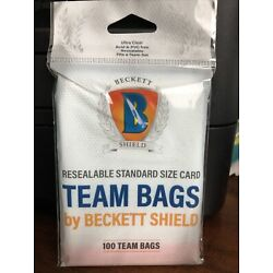 Beckett Shield Team Bags Resealable Sleeves 1 Pack of 100