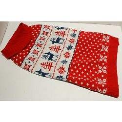 Blueberry Pet Christmas Reindeer Dog Sweater Tango Red & Navy Blue - Many Sizes