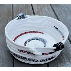 Coiled Rope Basket, Fabric Bowl, Fiber Art Basket - BEAUTIFULLY HANDCRAFTED