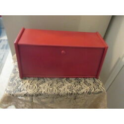 Kyпить VINTAGE Wood Bread Box COUNTRY RED 16.5