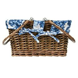 The Pioneer Woman ~ Weaved Willow Handled Basket ~ Heritage Floral Fabric Liner