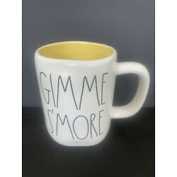 NEW Rae Dunn GIMME S'MORE MUG LL White ONLINE Smores Yellow Double Side Camp