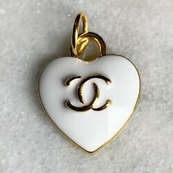 Chanel White Heart Zipper Pull Charm Stamped Auth 15 mm