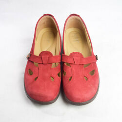 Hotter Womens 9 Red Nirvana Suede Leather Cutout Loafers Flats Comfort Walking