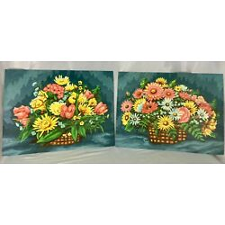 Vintage Paint by Number Lot of 2 Henry Wilton Phillips 12X16 Floral