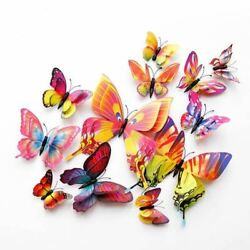 12Pcs Double layer 3D Butterfly Wall Sticker on the wall Home Decor Butterflies
