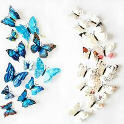 12pcs Wall Stickers Set 3D Butterfly Colorful Double Layers Wall Stickers on the