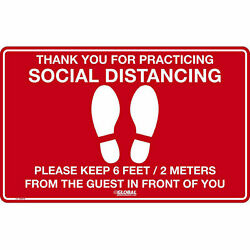 16''W x 10''H Social Distancing Floor Sign, Vinyl Adhesive, Red