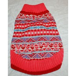 Blueberry Pet Fair Isle Hearts Sugar Coral Snowflake Pullover Dog Sweater - 12''