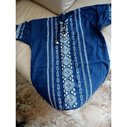 Traditional Guatemalan Men's Shirt  Embroidered Dark Blue Navy  Size M-L