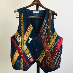 Handmade Large/X-Large Music Notes Instruments Vest Geometric Ties Upcycled OOAK