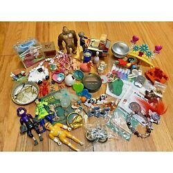 Vintage Junk Drawer Lot Toys Figures Crafts Calico Critter Dino Bite Jewelry Big