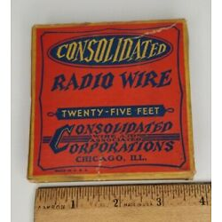 Vintage Consolidated Radio Wire 25' Green Cloth Insulated in Original Box NOS
