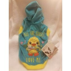 Puppy Dog Hoodie All The Chicks Love Me Blue Size XS 11 - 13 in (27 - 33 cm)