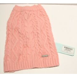 Blueberry Pet Wool Blend Cable Knit Interlock Dog Sweater - Muted Pink 10''