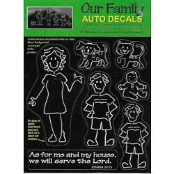 Auto Decals Our Family Mom-Dad 2@ Boys-Girls-Babies-Cats-Dogs-Christian Symbols