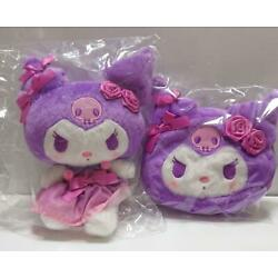 My Melody KUROMI Ribbon Rose Stuffed Plush Toy S Mascot Pouch Sanrio from Japan