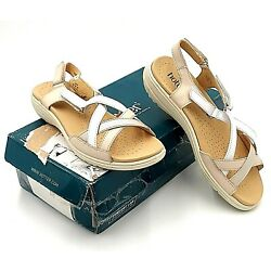 Hotter Shoes Womens US 9.5M EU 41.5 Lucy Beige Off White Strappy Sandals Comfort