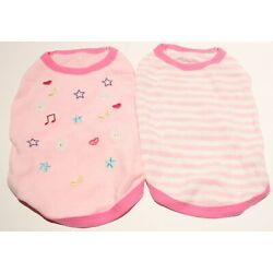 Blueberry Pet Terry Cloth Dog Shirts - Pink Stripes, Music Notes 2pk 10''