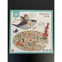 NEW- Detective Party Floor Puzzle! Wooden Alphabet Circular-kid Toy FREE SHIP!