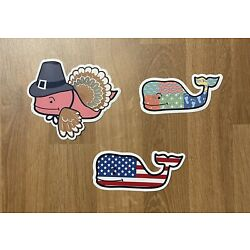 LOT OF 3 VINEYARD VINES Stickers - Thanksgiving, American Flag, Plaid Whales New