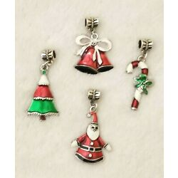 4 CHRISTMAS DANGLE CHARMS TREE BELLS CANDY CANE SANTA FOR MAKING JEWELERY LOT