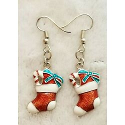 CHRISTMAS STOCKING WITH CANDY CANE AND BOW DANGLE DROP HOOK EARRINGS JEWELERY