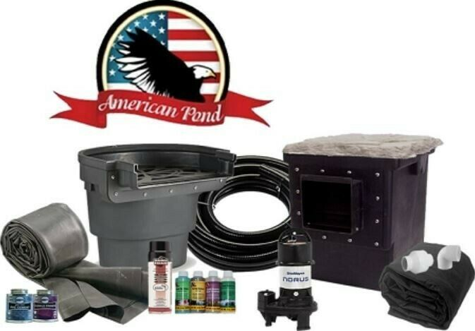 Large pro grade 11 39 x 16 39 complete backyard pond kit ebay for Garden pond kit
