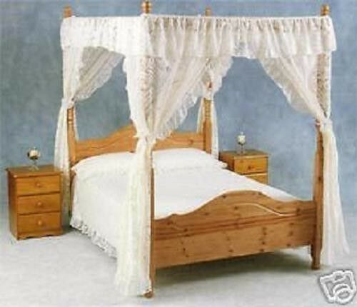 Net curtain lace four poster bed drapes and valance ebay for Diy poster bed